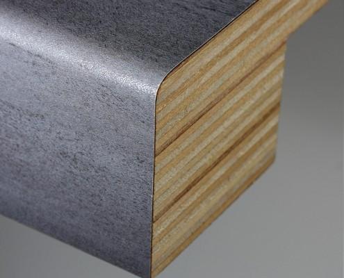 Postforming bar 60mm multiplex met afgeronde voorzijde